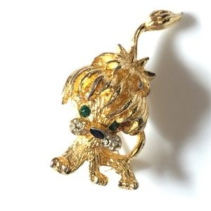 Vintage Tiny Terrier Dog with Bow Brooch